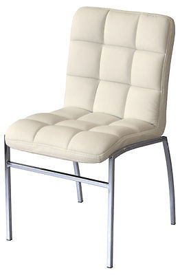 Chairs - Coco Cream Faux Leather Dining Chair With Chrome Legs