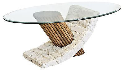 Coffee Tables - Bamby Mactan Stone Coffee Table With Oval OR Rectangle Glass Top