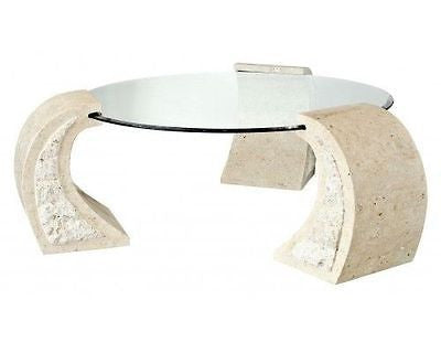 Coffee Tables - Beautiful Round Poseidon Mactan Stone Coffee Table With A Tempered Glass Top