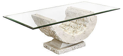 Coffee Tables - Coral Mactan Stone Base Coffee Table With Rectangular Glass Top