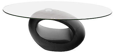 Coffee Tables - Nebula Oval Glass Top Coffee Table With High Gloss Black Base