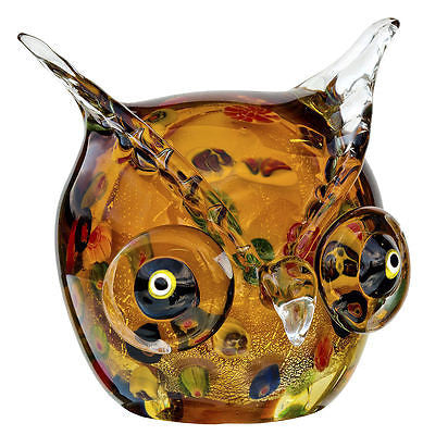 Decorative Ornaments & Figures - Beautiful Blown Glass Colourful Owl Head Ornament
