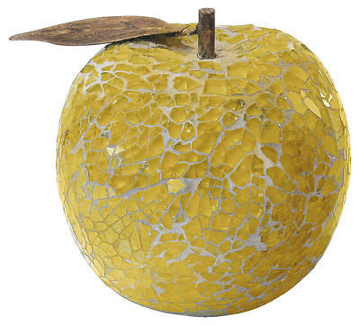Decorative Ornaments & Figures - Beautiful Gold Mosaic Crackle Glass Apple With Leaf Fruit Ornament