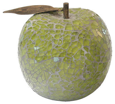 Decorative Ornaments & Figures - Beautiful Green Mosaic Crackle Glass Apple With Leaf Fruit Ornament