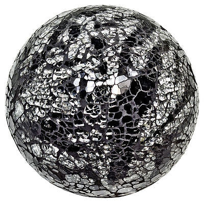 Decorative Ornaments & Figures - Beautiful Large Black And Mirrored Silver Mosaic Crackle Glass Ball Ornament
