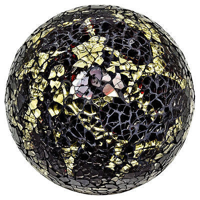 Decorative Ornaments & Figures - Beautiful Large Black And Yellow Mosaic Crackle Glass Ball Ornament