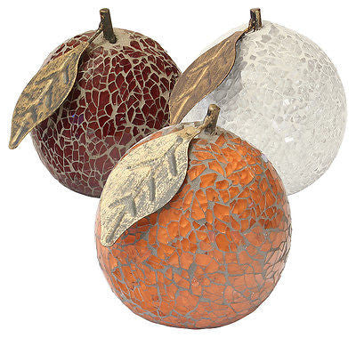 Mosaic Crackle Glass Orange with Leaf Fruit Ornament (Orange, Red or White)-EHomewares