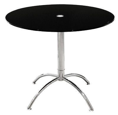 Kitchen & Dining Tables - Black Glass Top Round Luna Dining Table With Chrome Legs