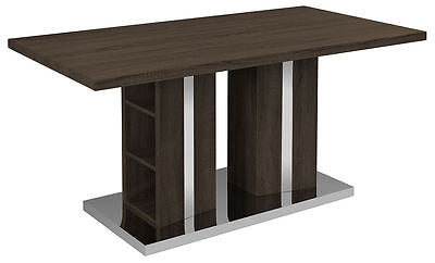 Kitchen & Dining Tables - Dark Brown Wood Veneer Dining Table With Chrome Base And Detail Storage Shelves