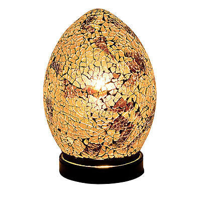 Lamps - Autumn Gold Mosaic Crackle Glass Mini Egg Table Lamp Soft Mood Light