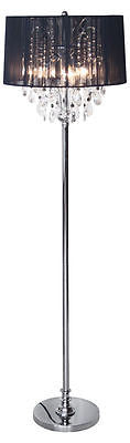 Lamps - Beaumont Chrome 3 Light Standard Floor Lamp Chandelier With Black Ribbon Shade