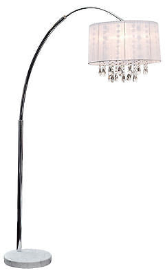 Lamps - Beaumont Chrome Large Arc Standard Floor Lamp Chandelier With White Ribbon Shade
