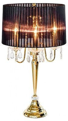 Lamps - Beaumont Gold 4 Light Table Lamp Chandelier With Black Ribbon Shade