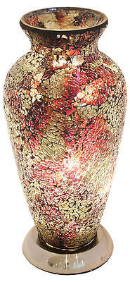 Lamps - Beautiful Amber / Orange Mosaic Crackle Glass Vase Table Lamp Soft Mood Light