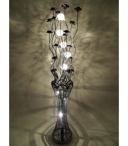 Lamps - Beautiful Large Tall Black Aluminium 160cm Flower Floor Lamp