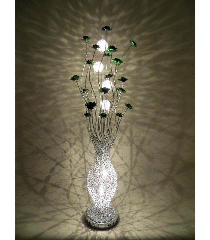 Beautiful large tall silver purple aluminium 150cm for Aluminium flower floor lamp in silver red