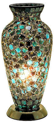 Lamps - Beautiful Peacock Green Mosaic Crackle Glass Vase Table Lamp Soft Mood Light