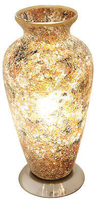Lamps - Beautiful Yellow Mosaic Crackle Glass Vase Table Lamp Soft Mood Light