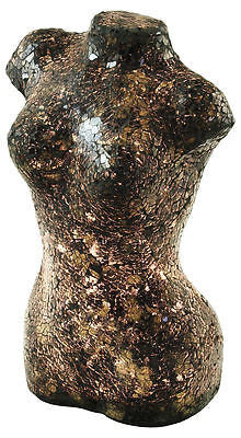 Lamps - Black Mosaic Crackle Glass Mosaic Lady Torso Bust Table Lamp Soft Mood Light
