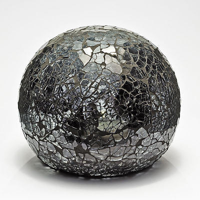 Lamps - Black Mosaic Crackle Glass Sphere Ball LED Lamp Flickering Night Light