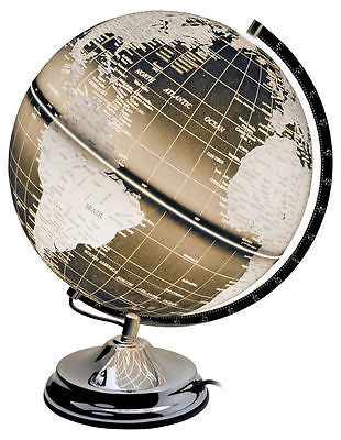 Lamps - Black World Globe Dimming Touch Lamp On Chrome Base