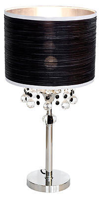 Lamps - Caithness Chrome 1 Light Bedside Table Lamp With Black Shade And White Trim