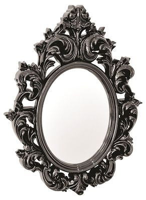 Mirrors - Catherine Lightweight Ornate Plastic High Gloss Frame Black Wall Mirror