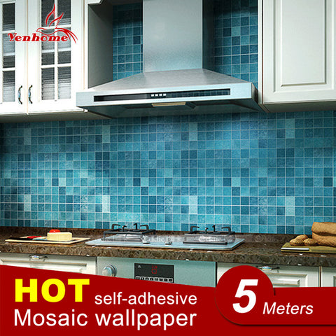 5Meter PVC Wall Sticker Bathroom Waterproof Self adhesive Wallpaper Kitchen Mosaic Tile Stickers For Walls Decal Home Decoration-EHomewares