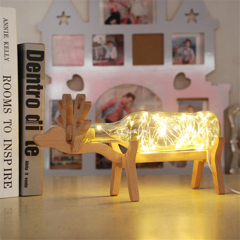 1X Deer Shape LED Night Lamp,Christmas Birthday Gift Led Copper Wire String Light 4 Colors Handmade Glass Bottle USB Table Lamp-EHomewares