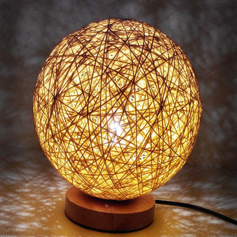 220v EU plug table lamp Rattan Ball design Takraw night light for Bedroom Bedside living room indoor lighting Diameter 15cm-EHomewares
