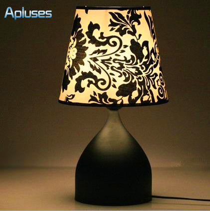 Fabrics Table Lamp Modern Black Flower High Grade Eyeshield Desk Lamp For Home Bedroom Living Room Decoration Bedside Lamp-EHomewares
