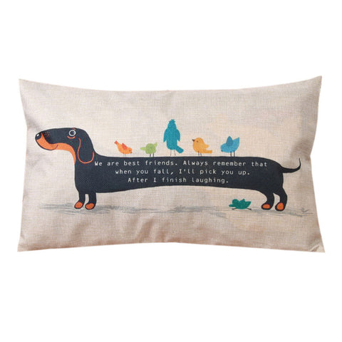 30X50cm Dachshund Dog Cushion Cover Sausage Dog Puppy Pillow Case Pillow Cover Dog Cushion Covers Sofa Thick Cotton Linen Pillow-EHomewares