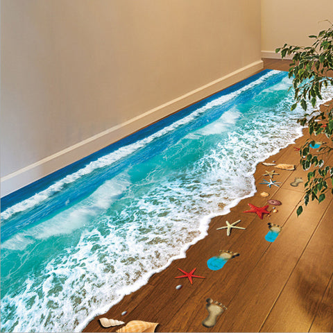 2016 Top Selling Creative 3D Wall Stickers Starfish Footprint Beach Bathroom Floor Sticker Sea Vinilos Paredes Kids Poster WT171-EHomewares