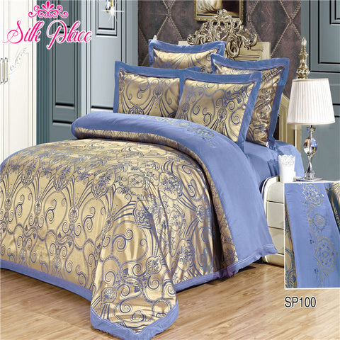 """Silk Place"" Fashion Quality Bedding Set Queen Size Jacquard Duvet Cover Bedsheet Pillowcase 4- 7pcs - EHomewares"
