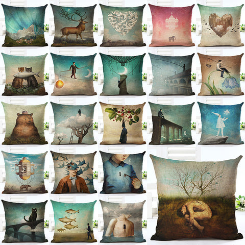 2016 New Arrive Hot Selling Classical Printing Linen Cotton Cushion Cover Throw Pillow Sofa Pillow Cojines-EHomewares
