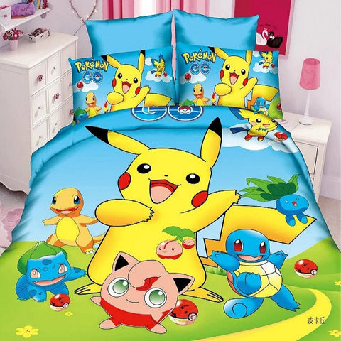 2017 hot pokemon game bedding set 2/3pcs kit of duvet cover bed sheet pillow case bed linen set/twin/single-EHomewares