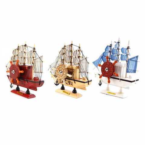 3 Colors Wooden Ship Music Boxes Ornament Wooden Sailing Boat Music Box Furnishing Articles Decoration Birthday Gift - EHomewares
