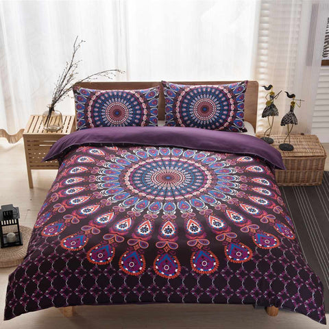200x230cm Indian Bedding Cover Boho Style Bedding Indian Duvet Cover Two Pillowcases 48x74cm Purple/Black - EHomewares