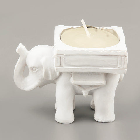 2016 Creative Vintage Retro Lucky Elephant Ivory Tint Tea Light Candle Holder Candlestick Romantic Wedding Home Decor - EHomewares