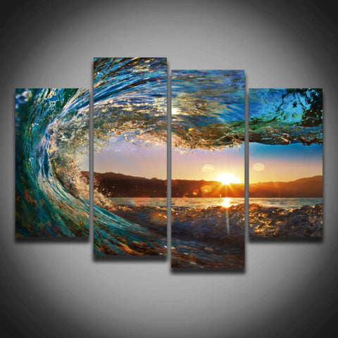 2017 Sea Waves Sunset Seascape Wall Picture Painting 4 Panels Home Decoration For Bedroom Living Room Canvas Art Prints NO Frame-EHomewares