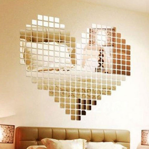 100 Piece Self-adhesive Tile 3D Mirror Wall Stickers Decal Mosaic Room Decorations Modern Self-adhesive Mirror Tiles Stickers-EHomewares