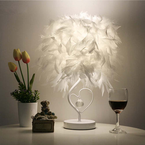Bedside Reading Room Sitting Room Heart Shape Feather Crystal Table Lamp Light with EU-plug-EHomewares