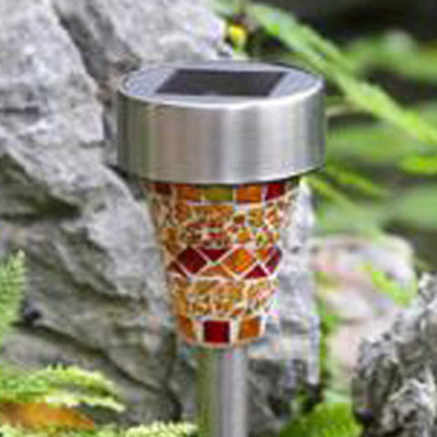 3 Colors Solar LED Path Colorized Light Outdoor Garden Lawn Stainless Steel Spot Lamp Mosaic Lamp Shiny-EHomewares