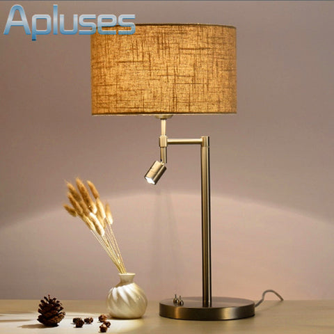 Fabric Table Lamp Dual Light Simple High Grade Eyeshield Desk Lamp For Home Bedroom Living Room Decoration Bedside Lamp-EHomewares