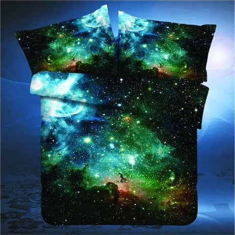 2016 New 3D Hipster Galaxy Bedding Set Universe Outer Space Themed  Galaxy Print Bed linen Duvet Cover Flast Sheet & Pillow Case - EHomewares