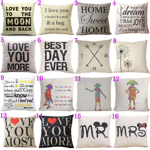 16 Styles18x18 inches Cotton Linen Quote Cushion Cover Cover Romantic Valentine Day Gift Pattern Pillowcase Throw Pillow Cover-EHomewares