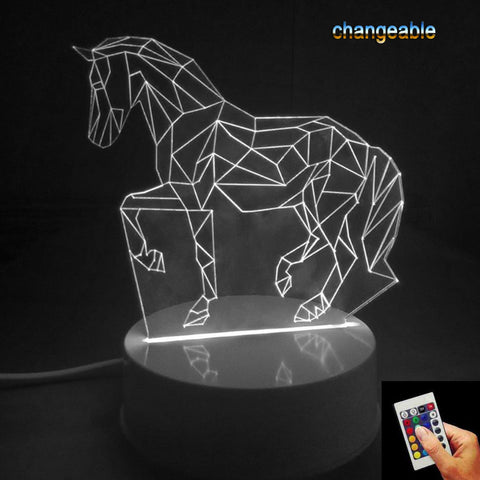 Gifts 7 Colors Changing Animal Luces Navidad Horse Led Night Lights 3D LED Desk Table Lamp Bedside Lamps as Home Decoration p20 - EHomewares