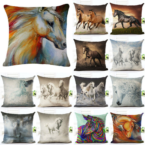 18 Inches Wild Animal Style Cushion Cover Horse Pattern Cotton Linen Pillow Cover Cushion Cover PillowCase Home Decor-EHomewares