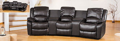 Sofas - Beautiful Black Entertainment Suite With Two Reclining Armchairs & Storage Sofa