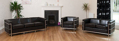 Beautiful Black Leather 3, 2 and 1 Sofa With CHROME piping - NEW!-EHomewares